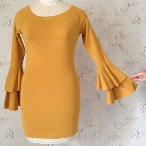 Mustard Yellow Sweater with Ruffle Sleeves
